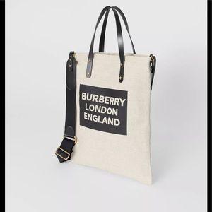 Authentic Burberry Logo Cotton Canvas Crossbody